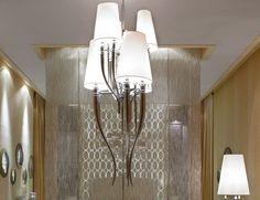 Nella Vetrina Visionnaire Murano Brunilde Luxury Hanging Light in Brass, Steel and Aluminum with Six Horns.