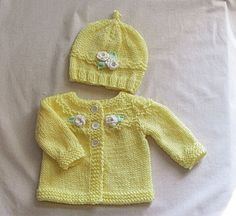 Knit Baby Sweater Set Newborn to 3 Months Yellow baby