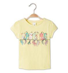 Camiseta de manga corta de algodón eco en amarillo claro