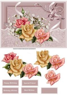 yellow and pink rose card with decoupage on Craftsuprint designed by Angela Wake…