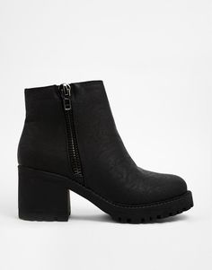 New Look | New Look Champ Black Zip Detail Chunky Heeled Ankle Boots at ASOS