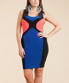 Look what I found on #zulily! Royal Blue & Coral Color Block Bodycon Dress - Plus #zulilyfinds