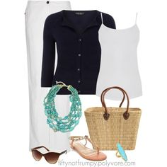 """Turquoise Accents with Navy and White"" by fiftynotfrumpy on Polyvore"