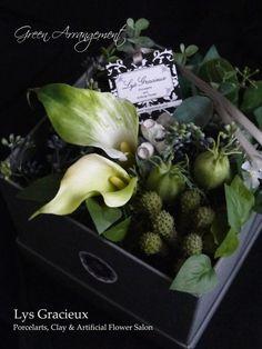 札幌Lys Gracieux〜リスグラシュ〜ポーセラーツ・フラワー・クレイ Happy Mother's Day Green Arrangement
