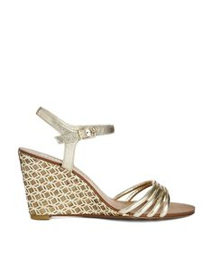 Dune Hath Di Gold Strappy Mid Heeled Wedge Sandals