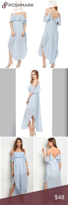 PREORDER 💕💕Baby Blue/White Striped Maxi Dress! This is my go to dress for this season.  Beautiful Baby Blue and White Striped Ruffled Cold Shoulder Maxi Dress - lined to right above knee with adjustable straps - a flowy drape and criss cross back Detail.   Quantities are limited. August Winds Dresses Maxi
