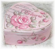 Romantic pink heart-shaped trinket b handpainted by Jill Serrao.