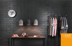 Wall tiles #Boston #Lavagna color. The #shop chooses laying Brick, together classical and contemporary