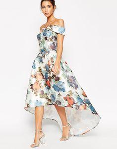 Chi+Chi+London+Premium+Bandeau+High+Low+Maxi+Dress+In+Garden+Floral+Print