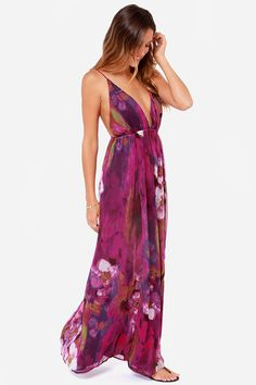 Lulus Exclusive! No one beholds the beauty of the forest more than you in the Titania's Woods Backless  Purple Print Maxi Dress! This breathtaking berry purple dress has more than just a touch of magic with silky chiffon plunging into a triangle cut bodice followed by a billowy maxi skirt. Spaghetti straps slip down the backless silhouette and join at the center with wooden bead-embellished ties. A mesmerizing print of olive brushstrokes and ivory flowers plays out on this whimsical maxi....