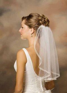 Bridal Illusion Wedding Veil Short Double Soutache Edge - SALE