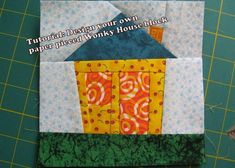 wonky fabric house patterns | ... house paper piecing quilt block pattern pdf 016a design patterns