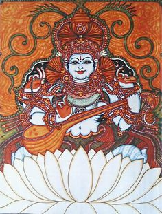 Goddess Saraswati (Reprint on Paper - Unframed))