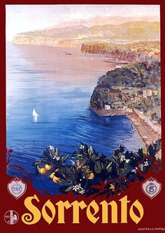 Vintage Italian Posters ~ #Italian #vintage #posters ~ Sorrento Italy travel poster by Borgoni 1927