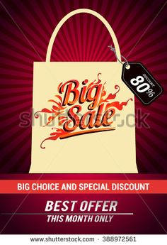 Big sale promo department store. Sale and discounts with shopping bag. Vector illustration. - stock vector