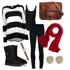 Fall outfit, stripes, buttoned boots and red scarves