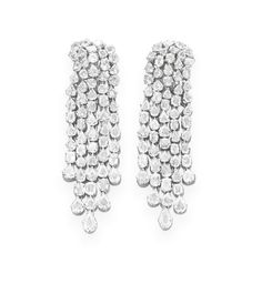 A PAIR OF DIAMOND EAR PENDANTS   Each designed as a fancy-shaped table-cut diamond tassle, mounted in 18k white gold