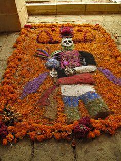 Día de los Muertos ... Celebrating Day of the Dead - Panteon General, Oaxaca, MEXICO  ... flower petal art