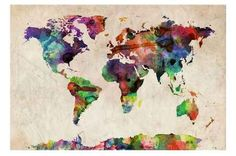 Urban Watercolor World Map Canvas - Gifts you can actually buy from Target!