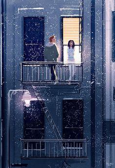 Artwork snow falls, pascal campion, it's snowing, arte digital, tiny l Pixiv Fantasia, Pascal Campion, Christmas Cartoons, Art Graphique, Couple Art, Love Art, Aesthetic Wallpapers, Amazing Art, Balcony
