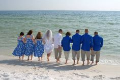Need help finding groomsmen outfits! :  wedding beach casual groomsmen Gallery 31 Bridal Party In Blue At Water