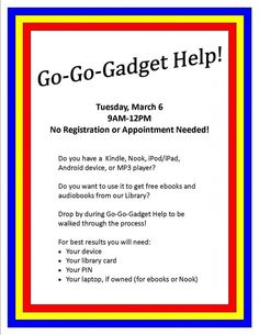 Free eBook Help on March 6th   Coffee County Manchester Public Library