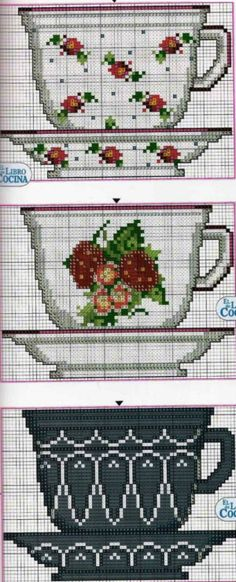 Pair of cups and saucers pattern / chart for cross stitch, crochet, knitting, knotting, beading, weaving, pixel art, micro macrame, and other crafting projects.