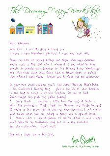 Letter from The Queen of The Dummy Fairies.  Boys letters are written from The King of the Dummy Fairies.  www.thedummyfairyworkshop.com