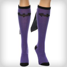 Batman Purple Black Caped Knee High Socks... Ok, not a shirt, but I want them anyway. These would be great for the gravedigger race.