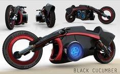 Black Cucumber inspired by Syd Meads design. Concept design motorcycles and scooters - innovation