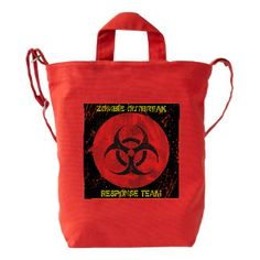 """Zombie Virus Outbreak Hunter """"Go Bag"""" Duck Canvas Bag w/ shoulder straps. Zombie Gifts, Creepy Halloween Decorations, Zombie Party, Go Bags, Shoulder Straps, Party Themes, Reusable Tote Bags, Nice, Canvas"""
