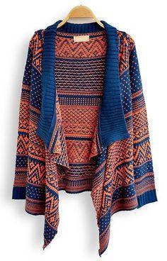 {Southwestern-pattern draped sweater}