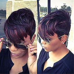 Brown Pixie Cut, Pixie Cut With Bangs, Pixie Cut Wig, Pixie Cuts, Messy Pixie, Short Pixie Haircuts, Short Black Hairstyles, Pixie Hairstyles, Braided Hairstyles