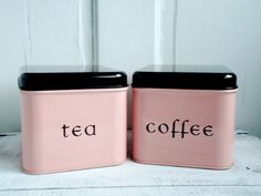 Vintage 1950s pink coffee & tea kitchen canisters <3 | from SwirlingOrange11 on Etsy