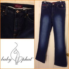 """NEW LISTING [BABY PHAT] Jeans Blue. 98% cotton, 2% spandex.  Inseam 33"""".  Size 14. (2/20) Baby Phat Jeans Boot Cut"""