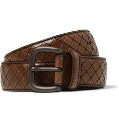 Bottega VenetaBrown 3.5cm Intrecciato-Effect Leather Belt