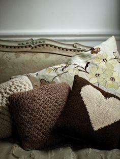 Moss Heart Cushion | Knit Rowan