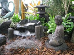japanese garden lanterns | Pohaku Bowl garden contians: Japanese garden logs, Tranquil Buddha ...Nice scene. I even like the large rock made for the fountain.