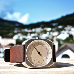 slow Mo 08 - dark brown soft Italian calf leather band, 34mm silver stainless steel case, crème dial... more at slow-watches.com