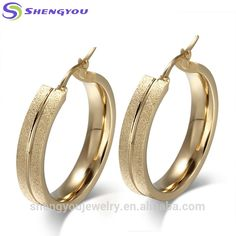 Shengyou Factory Fantacy Design Gold Plated 316L Stainless Steel Big Hoop Earring