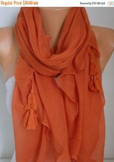 Burnt Orange Cotton Tassel Scarf Halloween Gift Fall by fatwoman