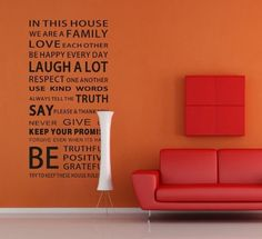 Home Decoration House Rules Modren Romantic Word Art Mural Wall Decals Stickers