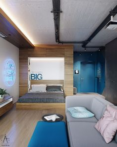 Modern studio apartment with electric blue decor & motivational wall quotes. Small interior layout featuring a modern murphy bed and an extendable breakfast bar Open Plan Apartment, Grey Bar Stools, Grey Sectional Sofa, Small Floor Plans, Studio Apartment Layout, Modern Murphy Beds, Blue Living Room Decor, Industrial Style Lighting, Motivational Wall Art