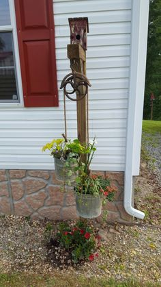 Ole pulley planter is part of Country garden decor -
