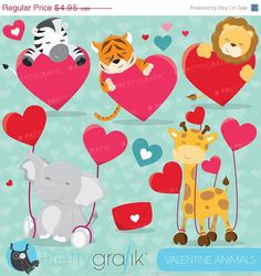 60% OFF SALE Valentine animals clipart commercial use, valentine vector graphics, digital clip art, digital images - CL630 #valentine's day #prettygrafik