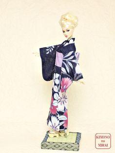 Blue flower YUKATA kimono Barbie,Poppy Parker,FR NIPPON,wafuku KIMONOnoMIRAI #KIMONOnoMIRAI