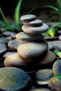 Japanese zen stone meditation water garden with stacked stones royalty-free stock photo