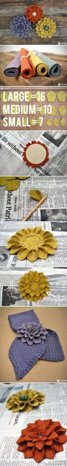 felt dahlia Felt Flowers, Diy Flowers, Handmade Flowers, Flower Crafts, Fabric Flowers, Felt Flower Diy, Flower Ideas, Felt Flower Tutorial, Felt Crafts