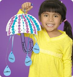 """April Showers"" Umbrella mobiles(click for instructions and templates)"