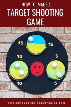 DIY velcro target shooting game.  Now all the kids can play together.  A fun game for groups of all ages #game #targetshooting #diytargetshooting #velcro #kidsactivities #agedcareactivities #senioractivities #DIYgames #craft #crafter #outdoorplay #play #fun #kids #toys #diy #diyideas #diyproject #craftymon #crafty #repurpose #tutorial #blogger